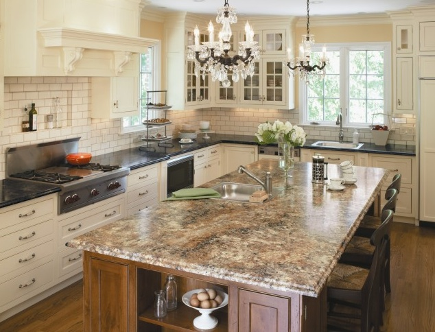 Beige granite countertops